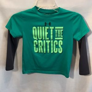 Under Armour kids size 5 green/grey long sleeved T